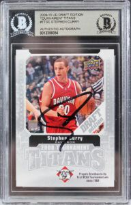 Warriors Stephen Curry Signed 2009 UD Draft Edition #TTSC Rookie Card BAS Slab
